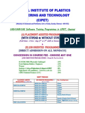 Cad Cam Cae Course Cipet Chennai_04012013 | Technical Drawing