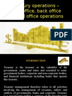 Treasury operations – Front office, back office