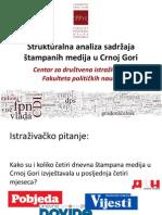 Analiza Sadrzaja Stampanih Medija u Crnoj Gori