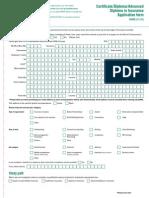 2011 Advanced Diploma Insurance Application Form