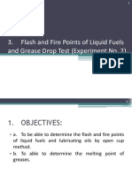 3. Flash and Fire Points of Liquid Fuels and Grease Drop Test