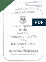 B. E. Degree Mechanical Engg. Sem. VII-VIII