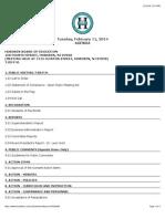 Hoboken Board of Education Agenda Feb 11, 2014