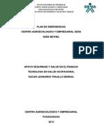 Plan de Emergencia Sede Bethel Centro Agroecologico y Empresarial Sena 2013