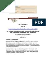 Ley 1562 de 2012 - Sistema de Riesgos Laborales y Salud Ocupacional