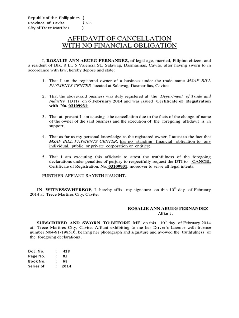 2014 Affidavit Of Dti Cancellation Rosalie Ann Abueg Fernandez