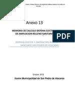 MEMORIA DE CALCULO SISTEMA ELECTRICO  DE AMPLIACION RELLENO SANITARIO
