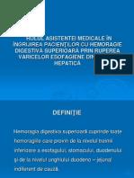 Rolul Asistentei in Ingrijirea Pacientilor Cu Hemoragie Digestiva Superioara Prin Ruperea Varicelor Esofagiene Din Ciroza Hepatica