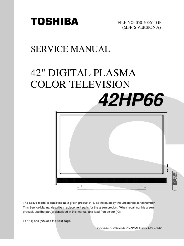 toshiba 42hp66 service manual rh scribd com 65HM167 Light Engine Toshiba 65HM167 Bulb