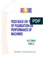 Feed Back on Effect of Foundation on Machines