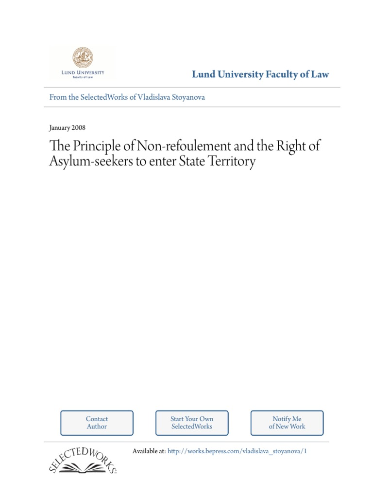 the principle of non refoulement and the right of asylum seekers to