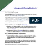 What is Portfolio Management