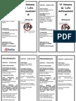 Folder Vi Semana Da Luta Antimanicomial Fafia 2013 - Pequeno