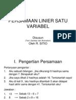 e. Persamaan Linier Satu Variabel