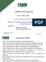 Análisis de regresión múltiple; consecuencia de violación de supuestos, multicolinealidad. ITAM. Santiago Arbeleche