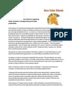 Save Cedar Schools Press Release - Feb 6th, 2014