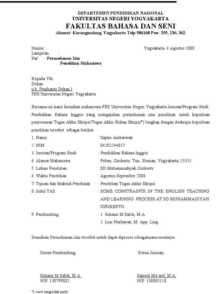 Contoh Surat Penelitian Skripsi Contoh Soal Dan Materi