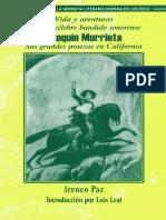 Vida y Aventuras Del Mas Celebre Bandido Sonorense Joaquin Murrieta