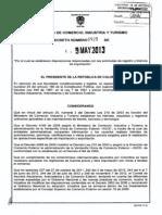 Decreto 925 Del 9 de Mayo de 2013