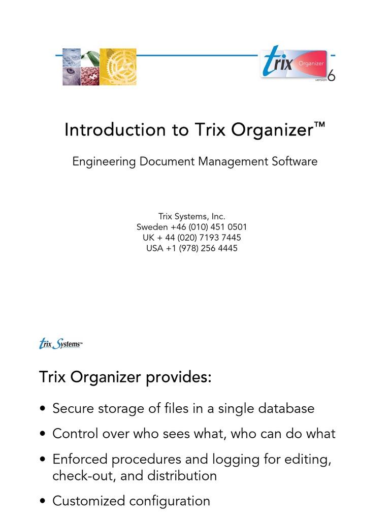 Trix Organizer Introductory Presentation   Metadata   Databases