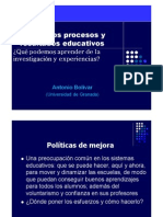 ►Antonio Bolívar. Mejorar los procesos y resultados educativos ¿Qué podemos aprender de la investigación y experiencias?