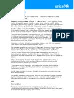 PRESS RELEASE- UNICEF, Government Vaccinating Over 1.7 Million Children