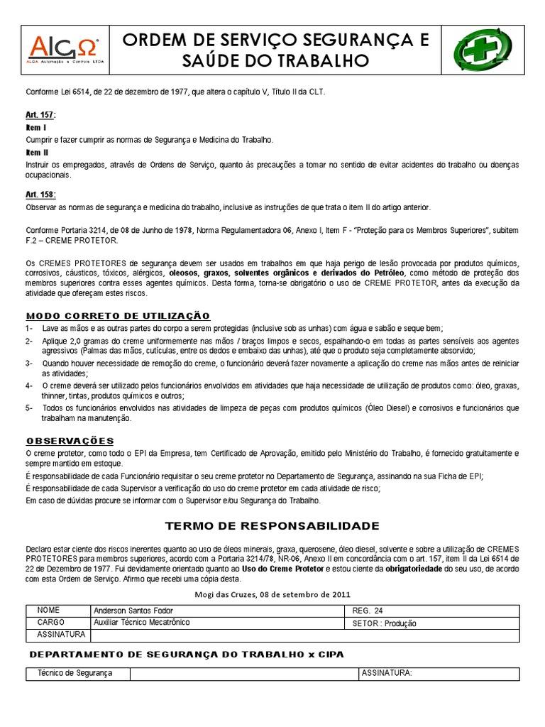 3b0b945aa9aec ORDEM DE SERVIÇO SEGURANÇA E SAÚDE DO TRABALHO - CREME DE PROTEÇÃO  colaboradores ALGA