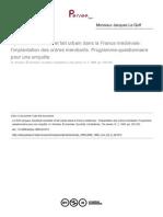 Apostolat mendiant et fait urbain dans la France médiévale (J. Le Goff)