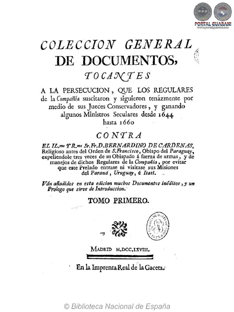 Coleccion Gral De Documentos Bernardino De Cardenas  # Muebles Tati Cochabamba
