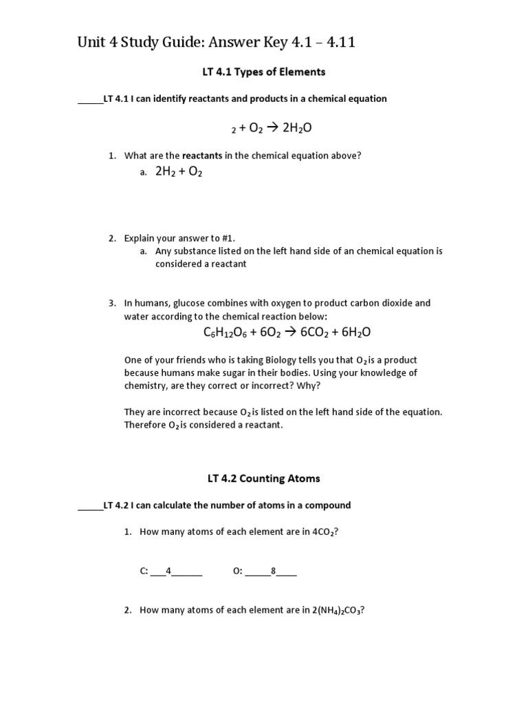 unit 4 study guide answer key 4 1 4 11 Mole Unit