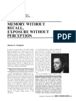 Memory Without Recall - Exposure Without Perception