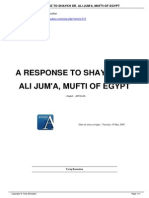 A Response to Shaykh Dr. Ali Jum'a, Mufti of Egypt