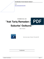 Ask Tariq Ramadan French Suburbs Outburst