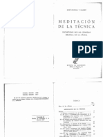 Ortega y Gasset. Meditación de la técnica