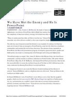 Power Point Make Us Stupid