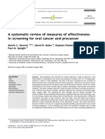 A Systematic Review of Measures of Effectiveness in Screening for Oral Cancer and Precancer