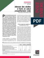 Les compétences des adultes à l'écrit, en calcul et en compréhension orale  Murat Fabrice, Insee