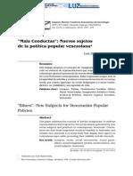 """""""Mala Conductas""""- Nuevos sujetos de la política popular venezolana"""