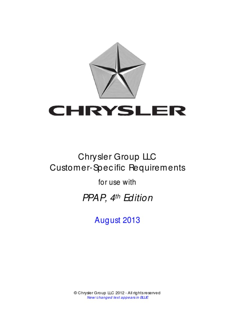 Chrysler Customer Specifics for PPAP 4th Edition August 2013 |  Specification (Technical Standard) | Production And Manufacturing