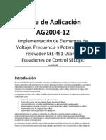 Guia de Aplicacion AG2004-12 Implementacion de Elementos de Voltaje, Frecuencia y Potencia en El SEL451