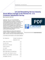 Home Improvement and Remodeling Service Industry Score Below Average in the Planese Inc. U.S. Customer Satisfaction Survey