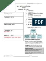 Agenda Week 6