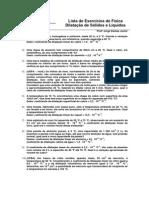 Exercícios de Física -Dilatação Sólidos e Líquidos