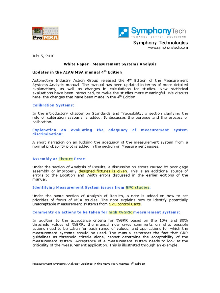 msa 4th edition changes analysis of variance standard deviation rh scribd com measurement system analysis manual free download measurement system analysis manual pdf