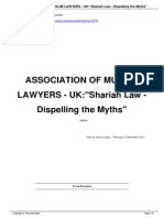 Association of Muslim Lawyers Uk Shariah Law Dispelling the Myths