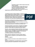 Reciente Discurso del Presidente Uruguayo en Río de Janeiro