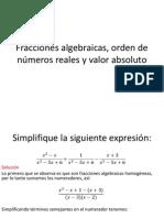 sesion 9 y 10. Fracciones algebraicas, orden de números reales