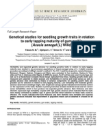 Enetical Studies for Seedling Growth Traits in Relation to Early Tapping Maturity of Gum Arabic (Acacia Senegal (L) Willd)