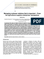 Managing customer relations that is important – From the agricultural supplies enterprises' perspective