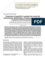 Production of Penicillin v Acylase From Novel Soil Actinomycete Identification of Isolate and Optimization of Physico-chemical Parameters